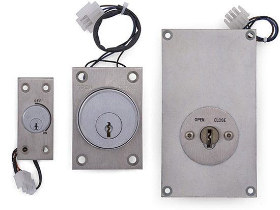 Detention lock push buttons and key switches